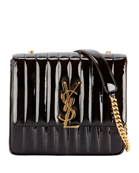 SAINT LAURENT Vicky Monogram Ysl Large Quilted Patent Chain Crossbody Bag, Black