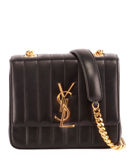 Medium Vicky Leather Crossbody Bag - Black in Nero