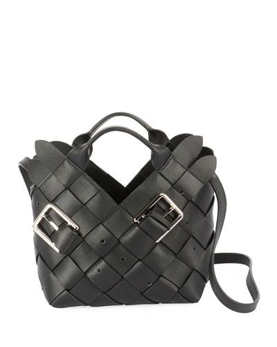 Woven Buckle Basket Mini Top Handle Bag
