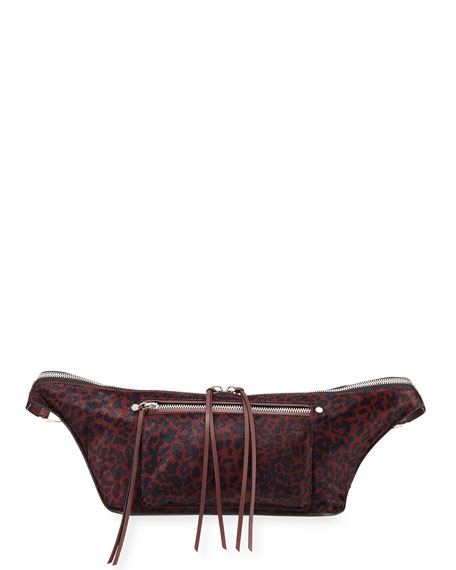 Large Elliot Genuine Calf Hair Fanny Pack - Red, Red Pattern