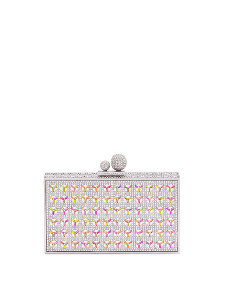 Clara Optic Crystal Box Clutch Bag, Silver