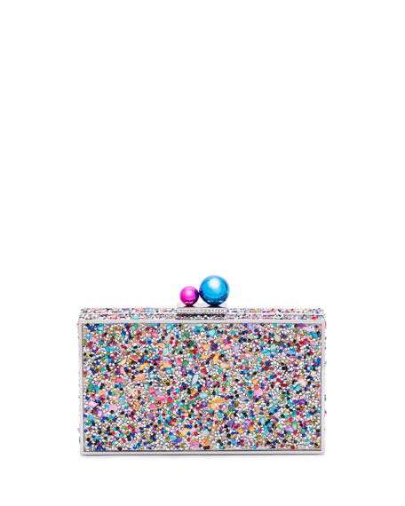 Clara Rainbow Crystal Box Clutch Bag, Multi