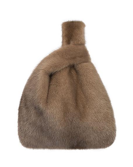 Furrissima Mink Fur Shopper Tote Bag, Cognac