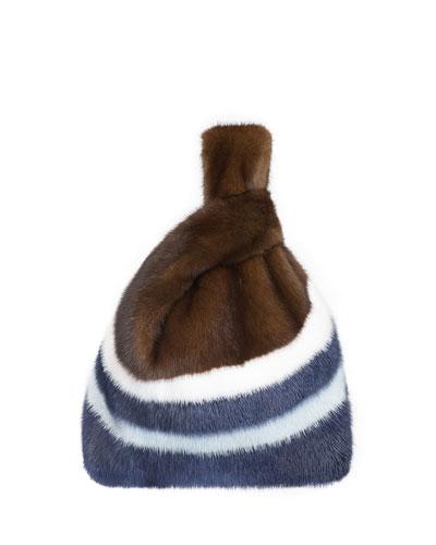 Furrissima W2 Stripe Mink Fur Shopper Tote Bag