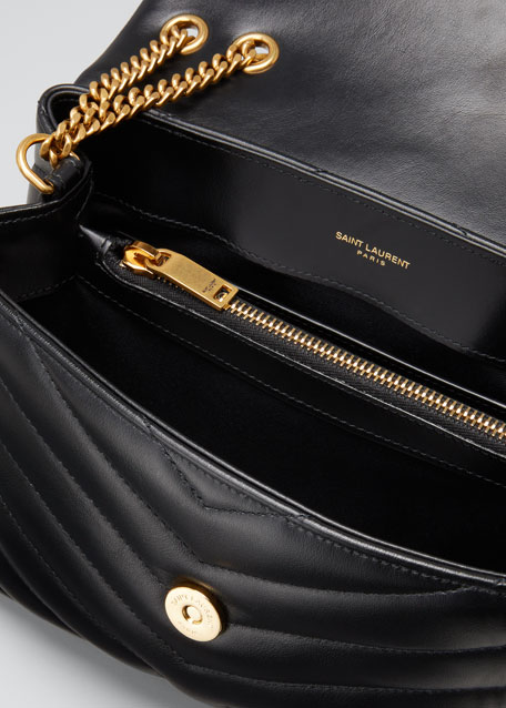 446b805c9a5 Loulou Monogram YSL Small V-Flap Chain Shoulder Bag - Lt. Bronze Hardware