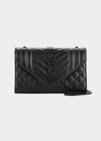 Monogram Envelope Small Chain Shoulder Bag - Black Hardware