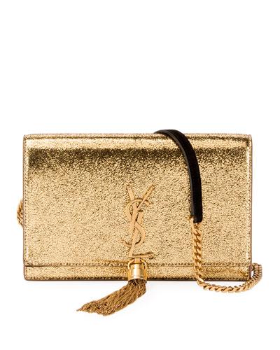 Kate Tassel Crackle Metallic Wallet on a Chain - Bronze Hardware