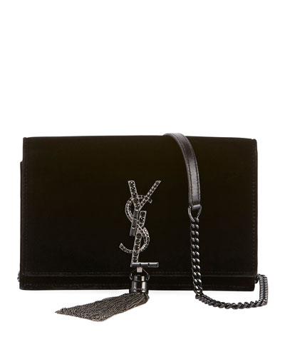 Kate Toy Small Crystal-Monogram Tassel Velvet Wallet on a Chain Bag - Silvertone Hardware