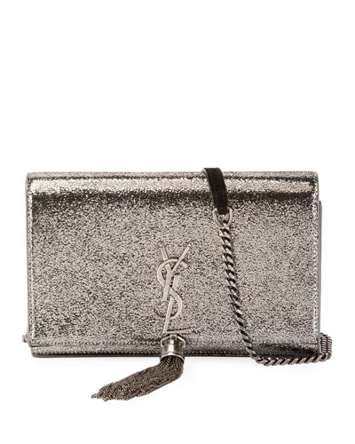 Kate Tassel Crackle Metallic Wallet on a Chain - Silver Hardware