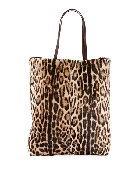 Leopard-Print Hair Calf Tote Bag in Brown