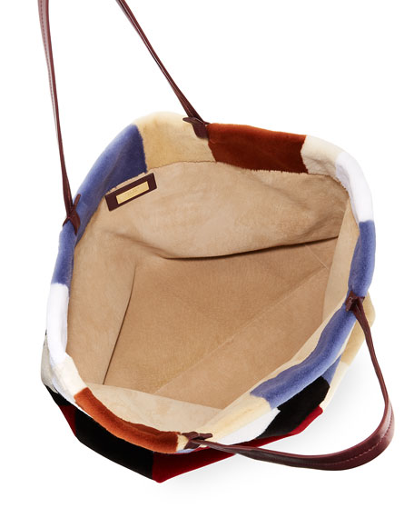 Patchwork Fur Shopper Tote Bag
