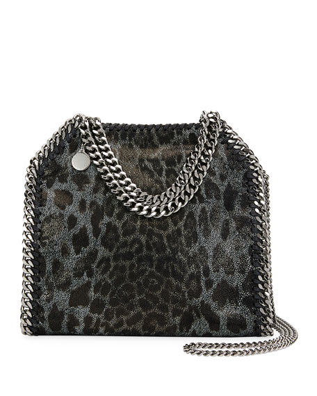 MINI FALABELLA LEOPARD PRINT FAUX LEATHER TOTE - BLACK