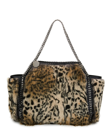 Snow Cat Fur Free Fur Falabella Small Tote Bag In Leopard Print Synthetic Material