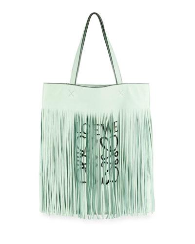x Paula's Ibiza Vertical Fringe Logo Tote Bag