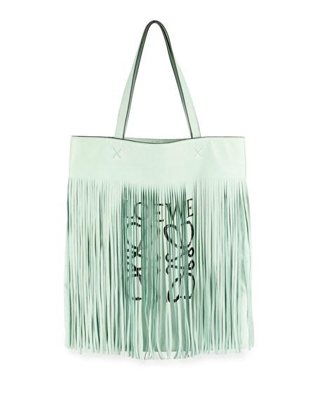X Paula'S Ibiza Vertical Fringe Logo Tote Bag in 4299 Green