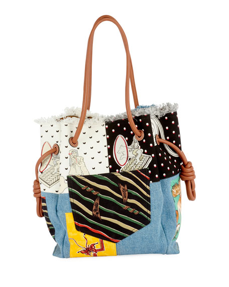 x Paula's Ibiza II Flamenco Knot Patchwork Tote Bag