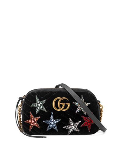 GG Marmont Crystal-Star Velvet Camera Bag