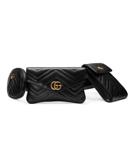 Gg Marmont Matelassé Leather Multi Belt Bag in Black