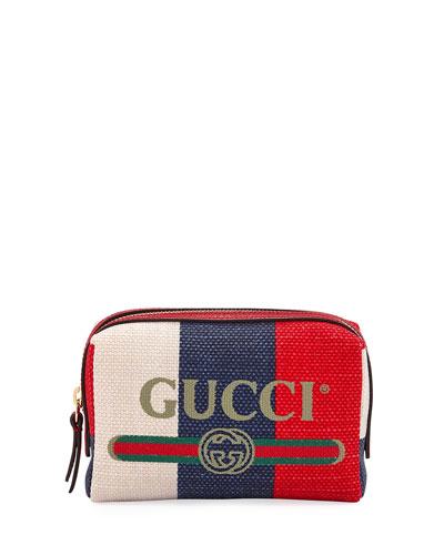 Linea Merida Canvas Striped Cosmetics Bag