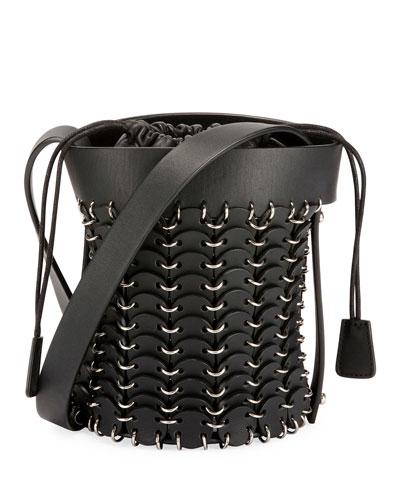 1401 Chain-Link Mini Bucket Bag, Black