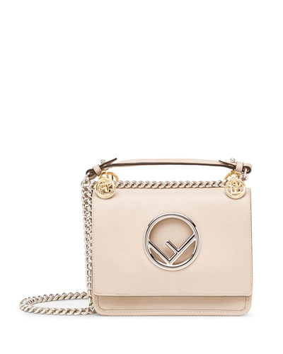 Kan I Small Leather Shoulder Bag with Logo