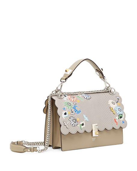 Kan I Regular Embroidered Python Shoulder Bag
