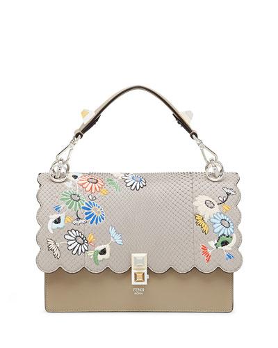 Kan I Regular Embroidered Python Shoulder Bag