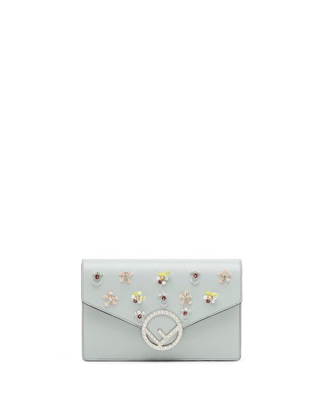 Small Leather Wallet On A Chain with Flowers