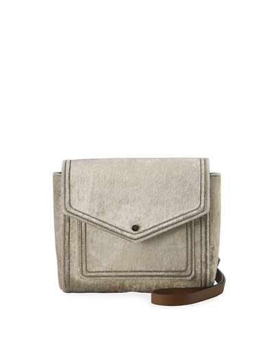 Velvet City Crossbody Bag with Monili Trim