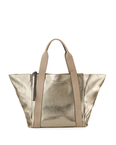 Metallic Leather Zip-Top Tote Bag