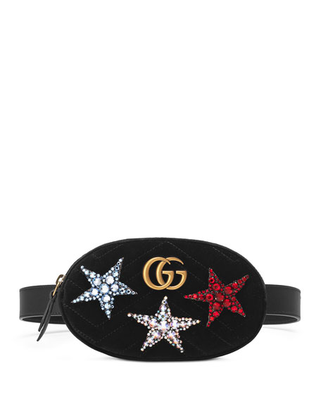 Gg Marmont Embellished Velvet Belt Bag in Black