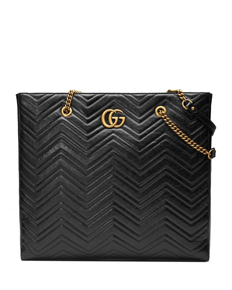 Gg Marmont 2.0 Matelasse Leather North/South Tote Bag - Black