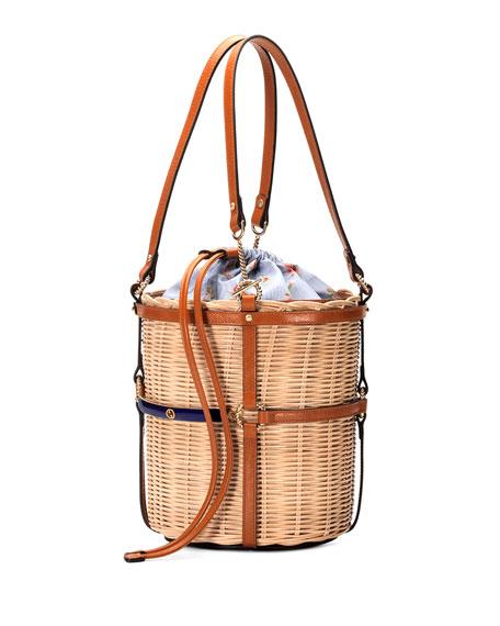 805c7aa31935 Gucci Linea Cestino Small Raffia Shoulder Bag