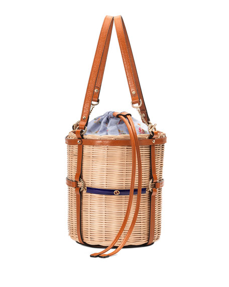Cestino Straw Small Bucket Shoulder Bag in Brown
