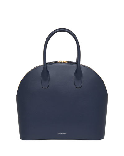 Rounded Calf Leather Tote Bag