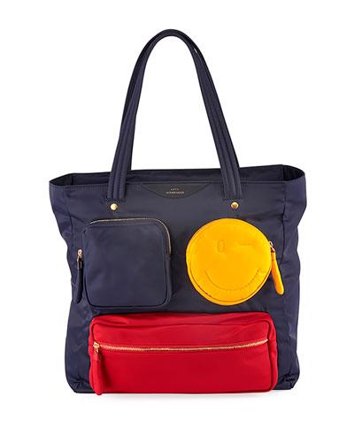 Chubby Wink Multi-Pocket Nylon Tote Bag