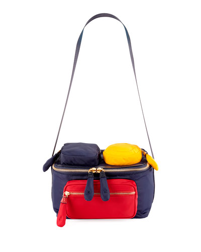 Colorblock Multi-Pocket Lunch Box Bag