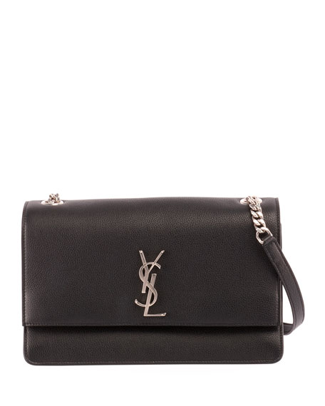 Monogram YSL Sunset Medium Grain Leather Shoulder Bag
