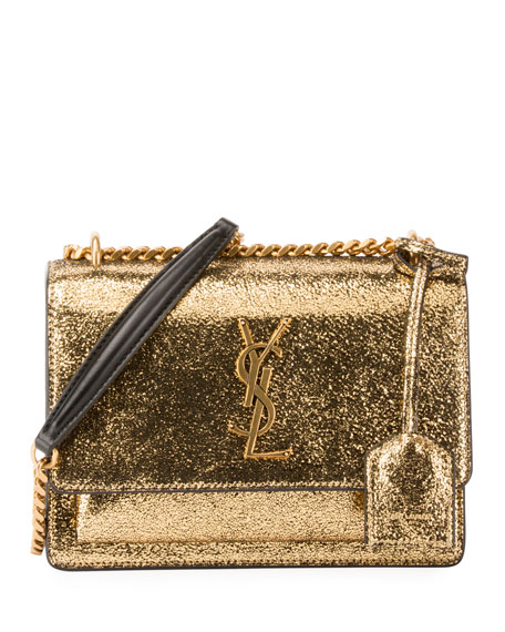 ef4cb96a3905 Saint Laurent Sunset Monogram YSL Small Metallic Leather Chain Crossbody Bag