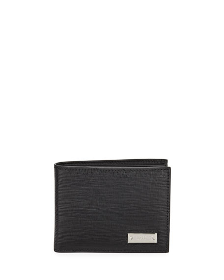 Men's Bevye Embossed Leather Bi-Fold Wallet, Black