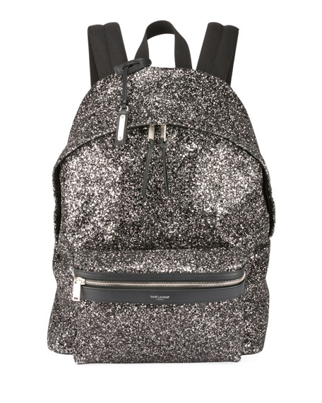 Mini City Glitter Metallic Backpack, Black Metallic