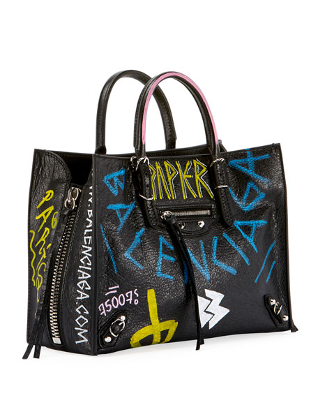 4c73dc051a61af Balenciaga Papier A6 Zip Around Graffiti Tote Bag
