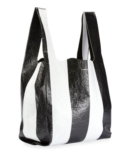 Supermarket Striped Shopper Hobo Bag