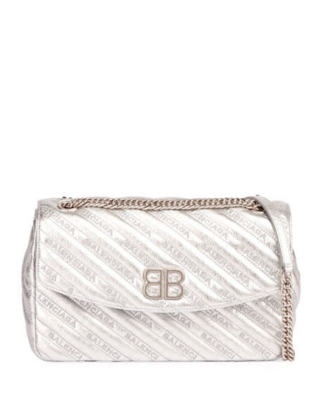 BB Round Medium Metallic Leather Chain Shoulder Bag