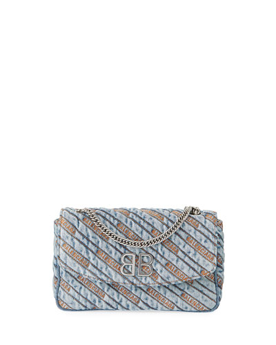BB Chain Destroyed Denim Crossbody Wallet Bag