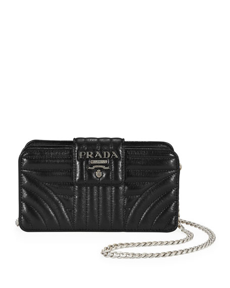LEATHER QUILTED FLAP WALLET ON CHAIN