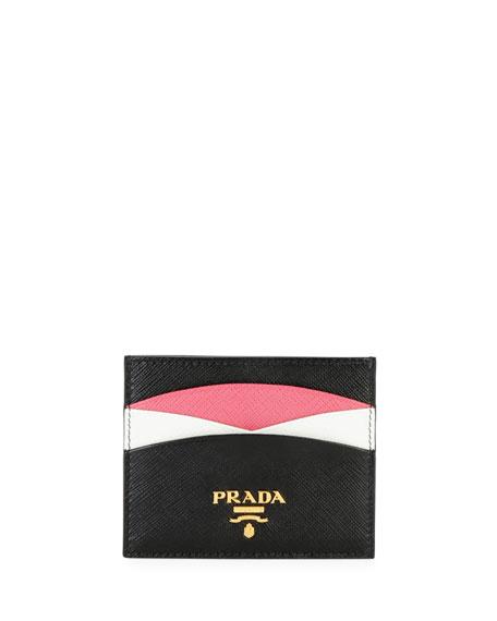 Prada Saffiano Colorblock Credit Card Case
