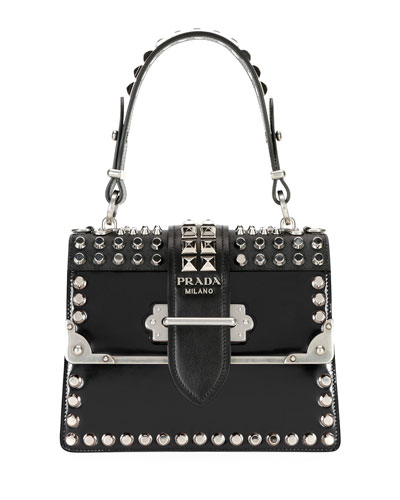 Studded Cahier Top Handle Bag w/ Removable Crossbody Strap