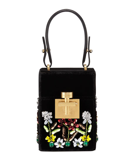 EMBROIDERED VELVET MINI ALIBI BAG