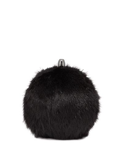 Orb Mink Fur Crossbody Clutch Bag
